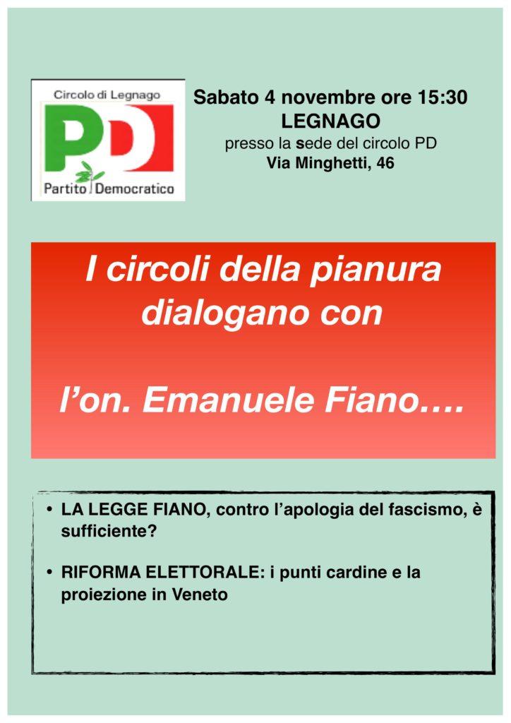 I circoli della pianura dialogano con l'On. Emanuele Fiano..... @ Sede del circolo Pd | Legnago | Veneto | Italia