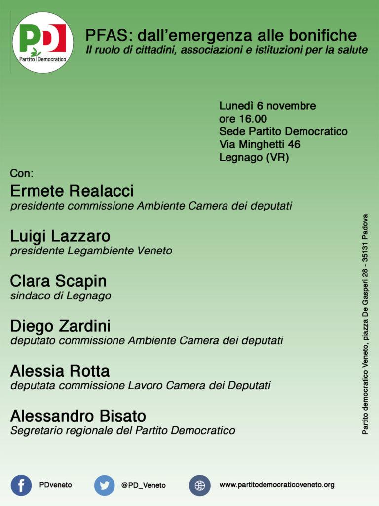 PFAS: dall'emergenza alle bonifiche. Il ruolo di cittadini, associazioni e istituzioni per la salute @ Sede circolo Pd | Legnago | Veneto | Italia