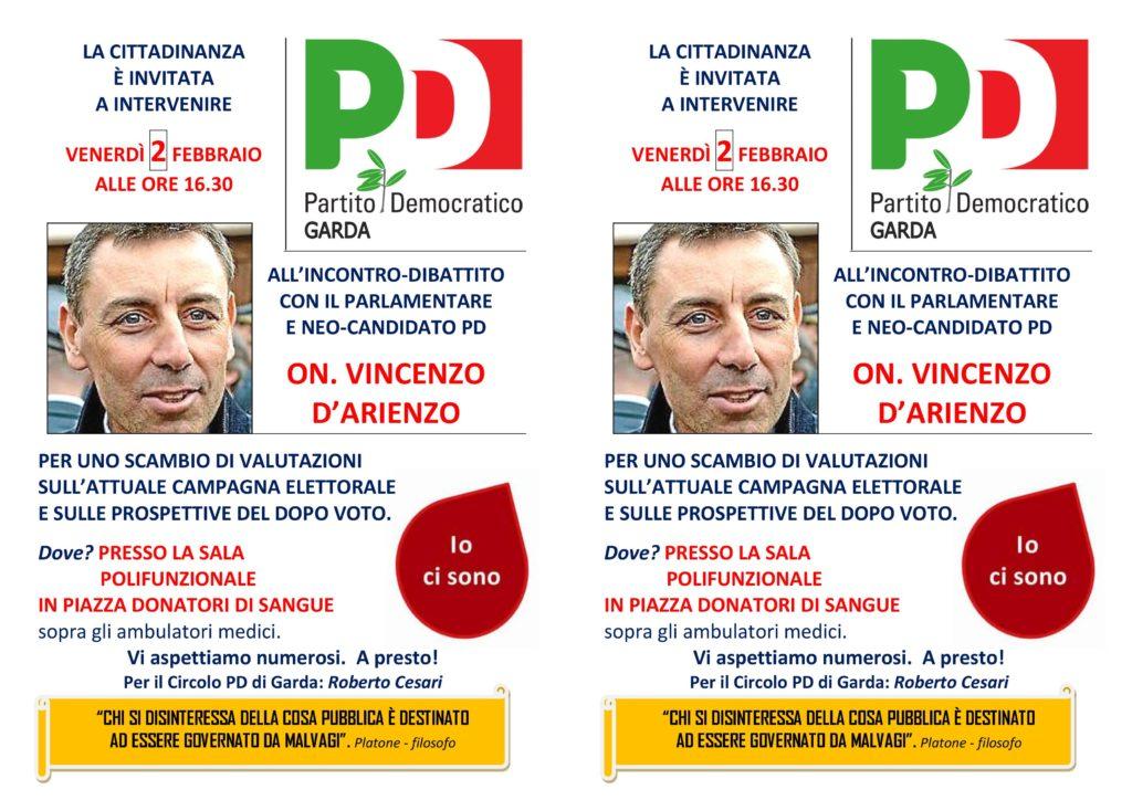 Incontro dibattito con il parlamentare candidato PD On.Vincenzo D'Arienzo