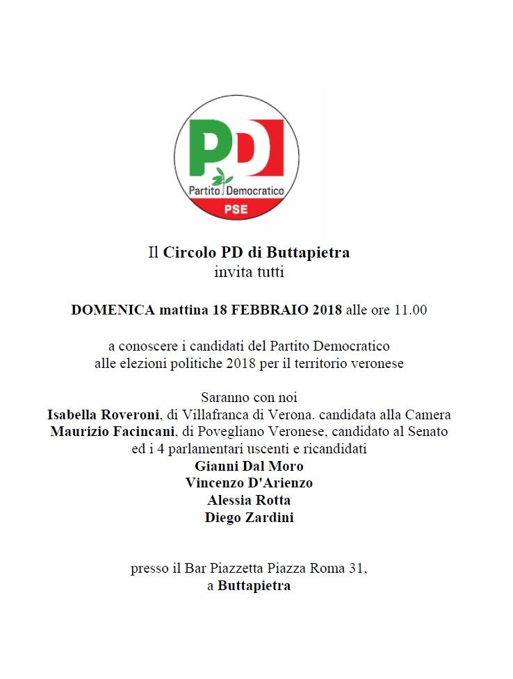 Incontro con i candidati del Partito Democratico a Buttapietra @ Bar Piazzetta    Buttapietra   Veneto   Italia