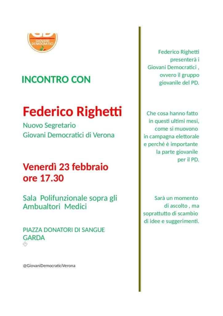 Incontro a Garda con Federico Righetti Segretario Giovani Democratici Verona @ Sala punlifunzionale sopra ambulatori medici   Garda   Veneto   Italia