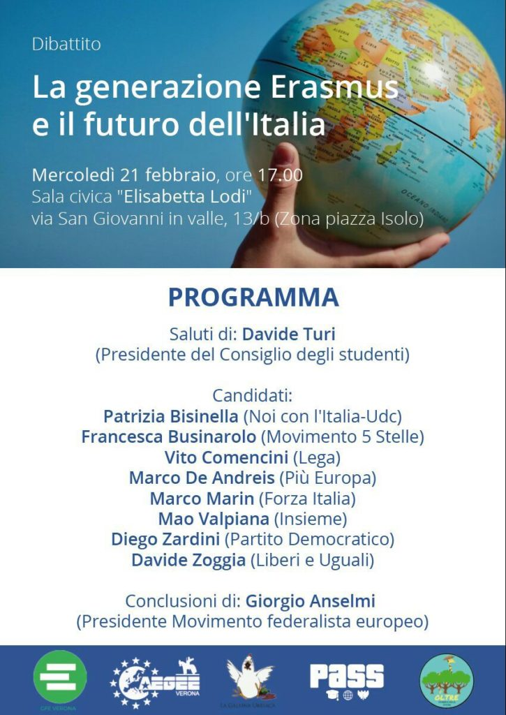 La generazione Erasmus e il futuro dell'Italia @ Sala Civica Elisabetta Lodi (Zona Piazza Isolo)   Verona   Veneto   Italia