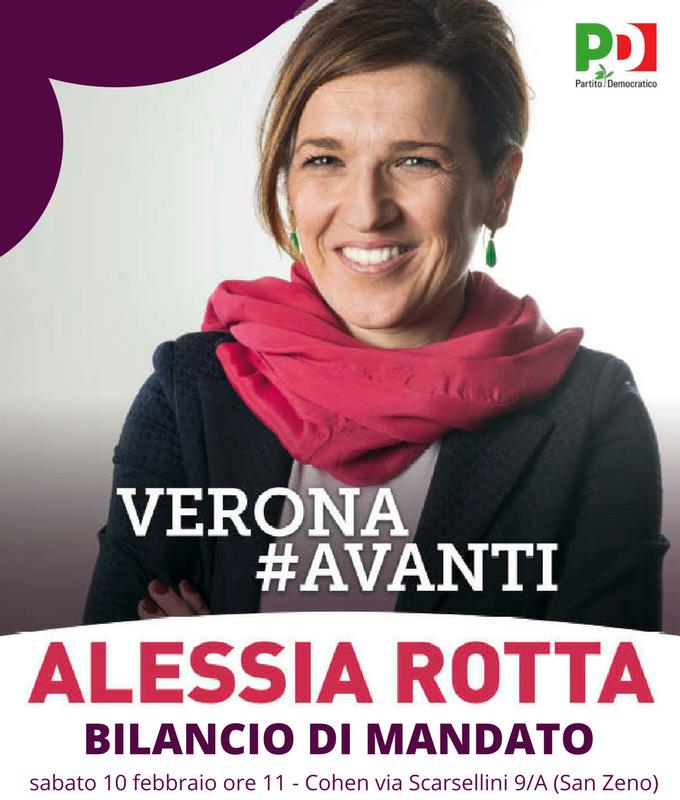 Sabato 10/02 ore 11 presentazione bilancio mandato Alessia Rotta @ Cohen   Verona   Veneto   Italia