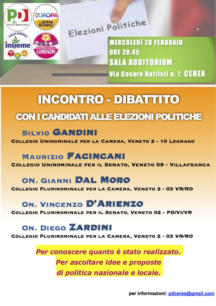 Incontro-dibattito con i candidati alle Elezioni Politiche @ sala auditorium   Cerea   Veneto   Italia