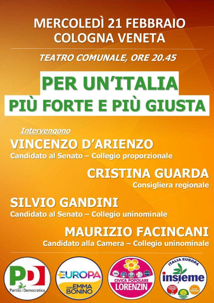 Per un'Italia più forte e più giusta @ Teatro Comunale   Cologna Veneta   Veneto   Italia