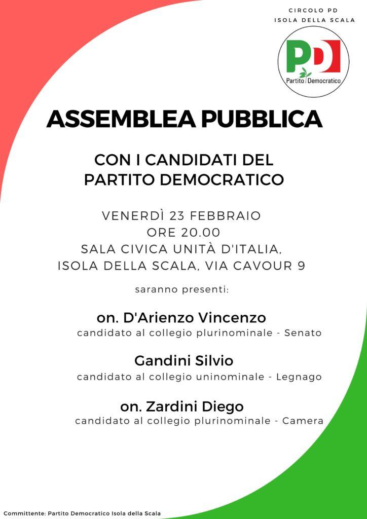 Assemblea pubblica con i candidati del Partito Democratico @ Sala Civica Unità d'Italia   Isola della Scala   Veneto   Italia