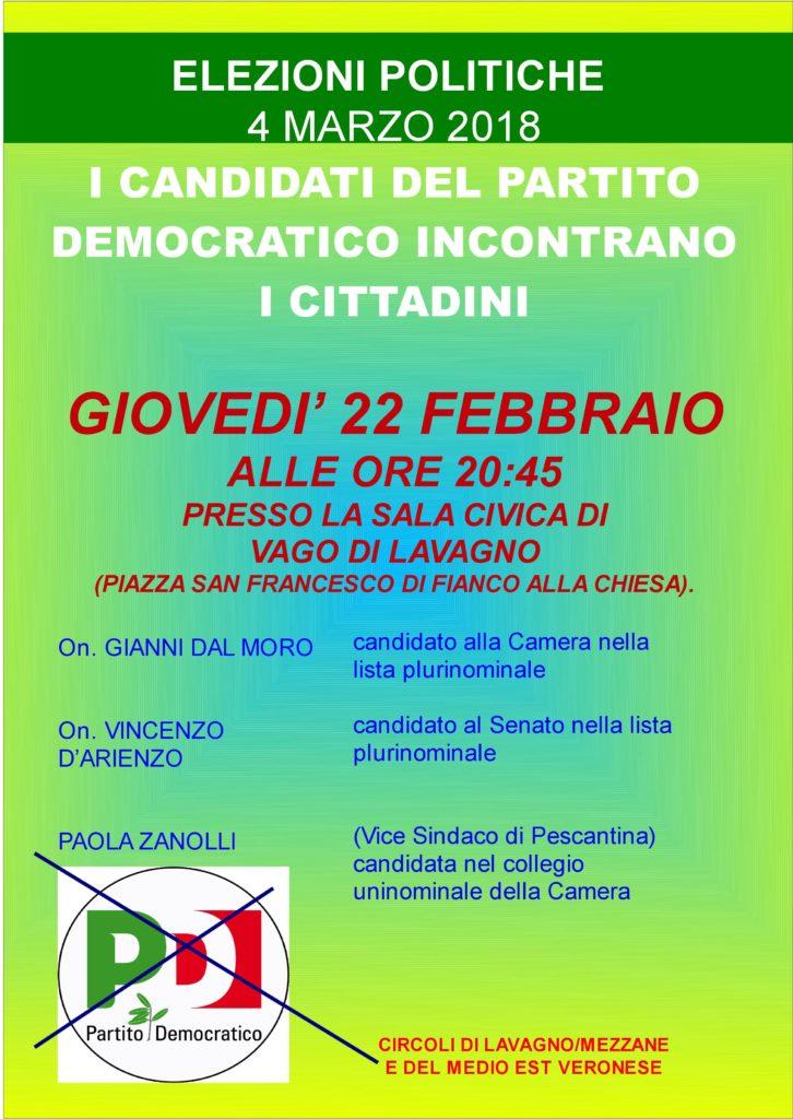 I candidati del Partito Democratico incontrano i cittadini @ Sala Civica (di fianco alla chiesa)   Vago   Veneto   Italia