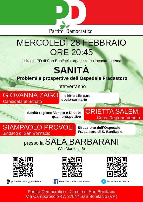 Sanità: problemi e prospettive dell'Ospedale Fracastoro @ Sede del Circolo Partito Democratico   San Bonifacio   Veneto   Italia