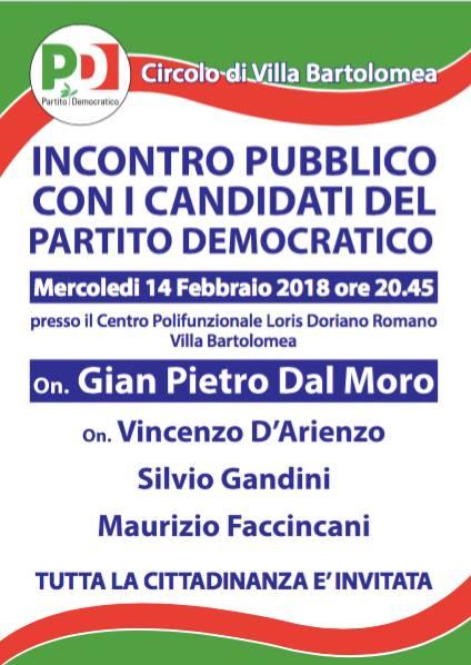 Incontro pubblico con i candidati del Partito Democratico @ Centro Polifunzionale Loris Doriano Romano   Villa Bartolomea   Veneto   Italia