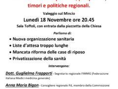 """Circolo Pd Valeggio sul Mincio, assemblea pubblica """"SANITA' VENETA"""""""